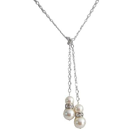 Lariat Necklace Swarovski Ivory Pearls with Diamante Spacer