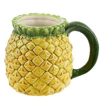 الأناناس الاستوائية كأس 3D الأصفر الأخضر، السيراميك، قدرة 400 مل.، في مربع هدية.