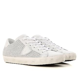 Philippe Model Women's sneakers in white leather with silver-plated pearls effect