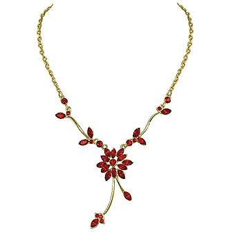 Eternal Collection Everlasting Vintage Style Lt Siam Red Crystal Gold Tone Necklace