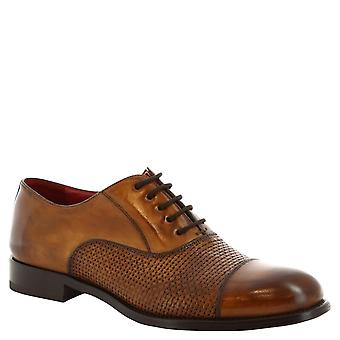 Leonardo skor mans handgjorda spetsar ups derbyn skor i brun läder