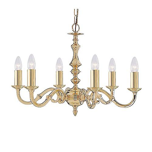 Searchlight 2176-6NG Seville 6 Arm Polished Cast Brass Chain Pendant