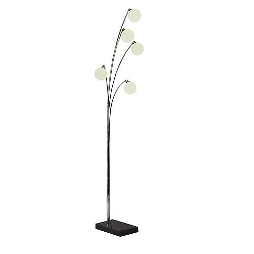 Dar HIG4950 Highgate 5 Light Floor Lamp With Marble Base And Glass Shades