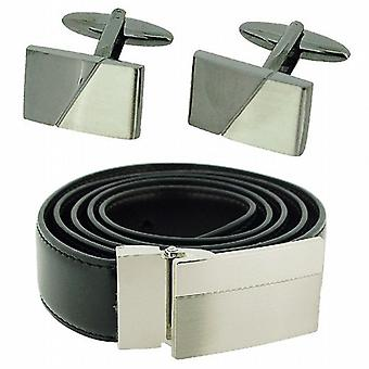 Harvey Makin Gents Silvertone & Gunmetal Brushed Cufflink & Black Belt Gift Set
