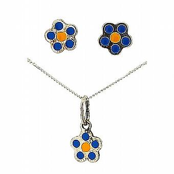 TOC Girls Sterling Silver Blue Flower Earrings & Pendant Necklace 14