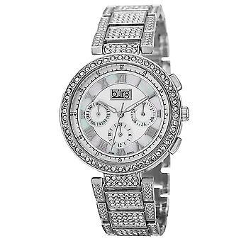 Burgi Women's Quartz Mother-of-Pearl Multi Function Crystal Accented Bracelet Watch BUR123SS