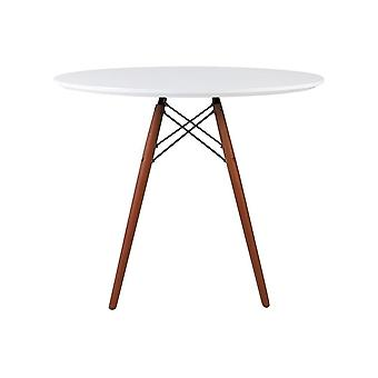 Fusion Living Eiffel Inspired Medium White Circular Dining Table With Walnut Wood Legs