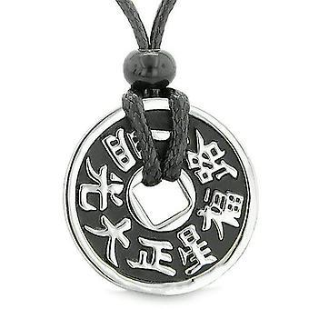 Amulet Lucky Coin reversibel dobbelt sidet magiske Good Luck energi Charm vedhæng halskæde