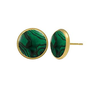 Eternal Collection Symphony Green Paua Shell Gold Pierced Stud Earrings