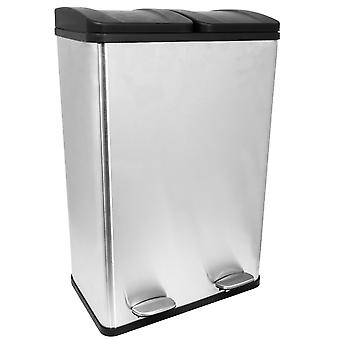 Charles Bentley 60L Stainless Steel Kitchen Recycle Pedal Bin 2 Compartment