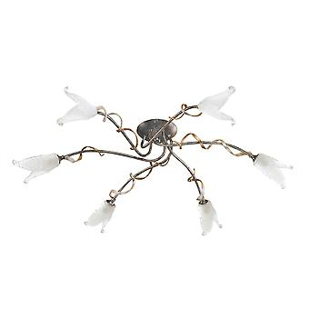Elstead - 6 Light Semi Flush Ceiling Light Silver, Black, Gold - FLY6/SF BRZ/ANT