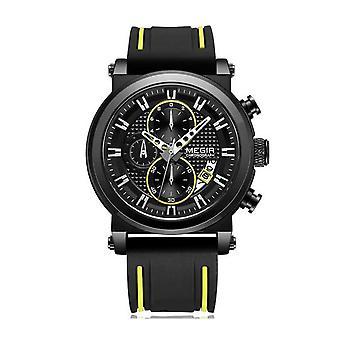 Megir menns rund kvarts analog luksus watch svart gul klokker gummi stropp UK