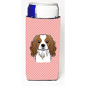 Checkerboard Pink Cavalier Spaniel Ultra Beverage Insulators for slim cans