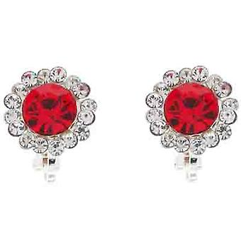 Clip On Earrings Store Classic Red & Clear Crystal Circle Clip On Earrings