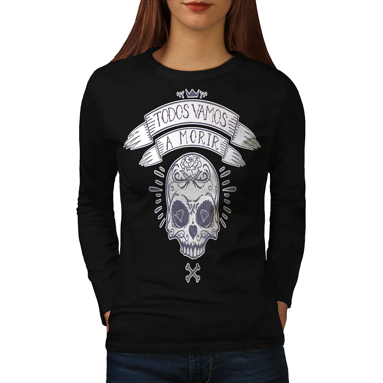 Diamond Skull Bones Monster Dead Women Black Long Sleeve T-shirt | Wellcoda