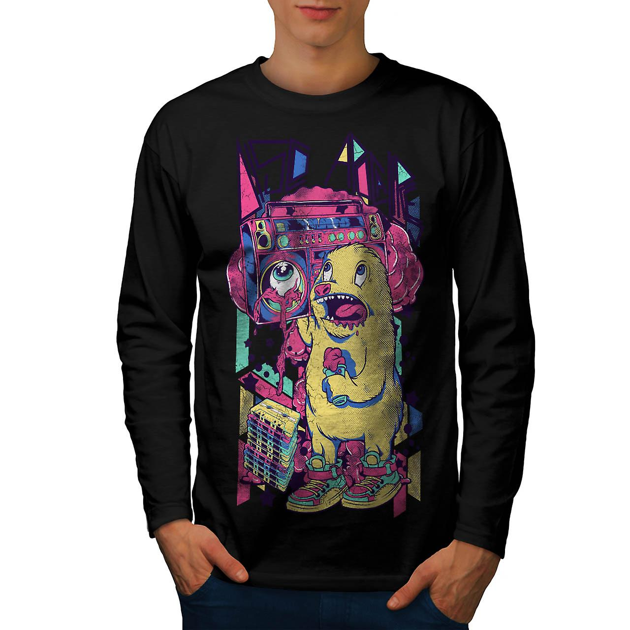 Furry Animal Alien Comic Sound Men Black Long Sleeve T-shirt | Wellcoda