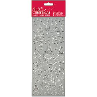 Papermania Create Christmas Outline Stickers-Silver Christmas Trees PM810920