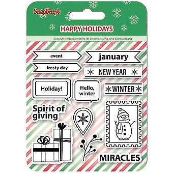 ScrapBerry's Happy Holiday Clear Stamps 4