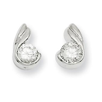 Rhodium-plated Round CZ Earrings