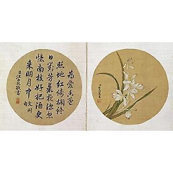 Blommor och kalligrafi affisch Skriv av Zhang Weibang