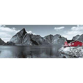 ロフォーテン諸島ノルウェー ポスター印刷アサフ フランクでウォーター フロントの釣り小屋