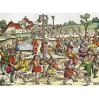 La danse du nez après une gravure sur bois du XVIe siècle par les ruraux allemand Nikolaus Meldemann A festival de danse depuis le moyen-âge prix suspendu à un mât sont pour les plus grands nez est entré dans la compétition et j'ai