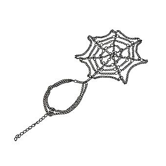 Gunmetal Finish Spider Web Design Link Hand Bracelet