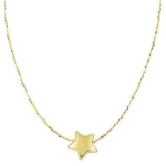 14k Yellow Gold Sliding Puffed Star Pendant On 18