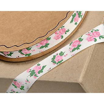 16mm Pink Roses Printed Cotton Ribbon for Crafts - 10m