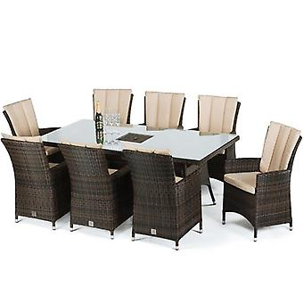 Maze Rattan LA 8 Seat Rectangular Rattan Furniture Set With Ice Bucket