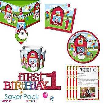 Farmhouse Fun 1st Birthday Party Tableware Saver Pack