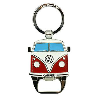 Official VW Camper Van Metal Bottle Opener + Keyring - Red