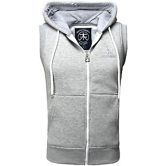 Akito Tanaka hooded vest of new ZIP VEST grey/white