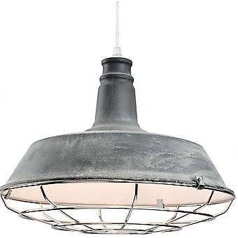 Firstlight Industrial Quirky Grey Open Grill Ceiling Pendant
