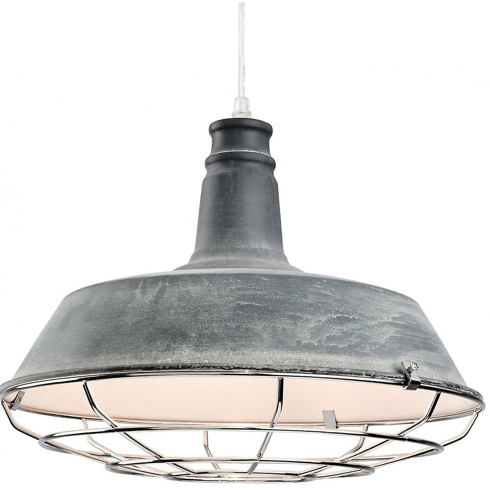 Firstlumière Industrial Quirky gris Open Grill Ceiling pendentif