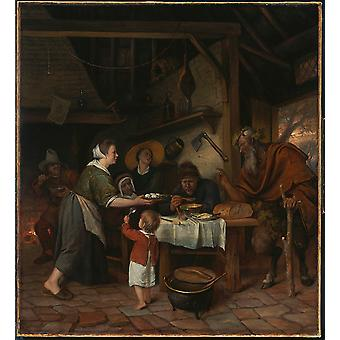 Jan Steen - The Satyr and the Peasant Family Poster Print Giclee