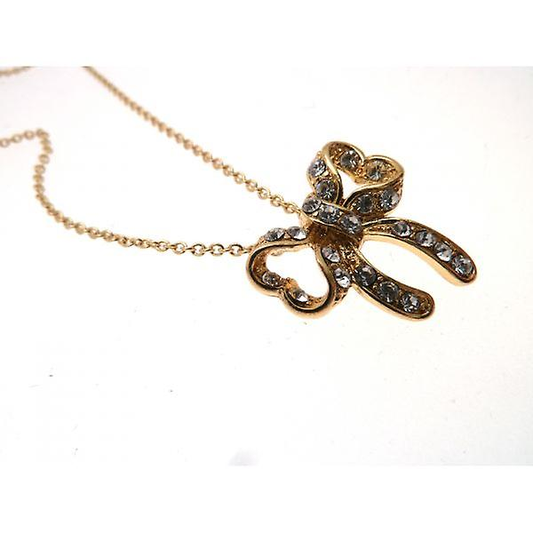 W.A.T Gold Style Sparkling Crystal Bow Pendant