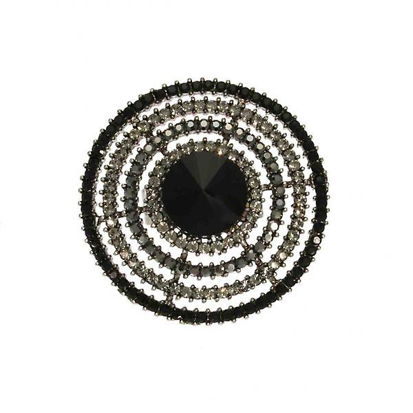 W.A.T Black Swarovski Crystal Disc Ring