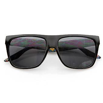 Indfødte Print klassiske Retro mode flad Top Horn kantede stil solbriller