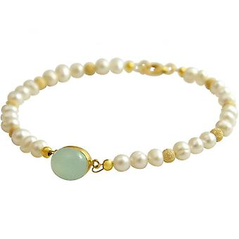 Sea green - 18 cm gold plated ladies bracelet - pearls - - chalcedony-