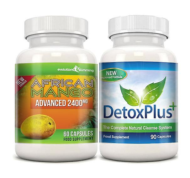 Pure African Mango 2400mg and Detox Cleanse Combo Pack - 1 Month Supply - Dietary Supplement and Cleanse - Evolution Slimming