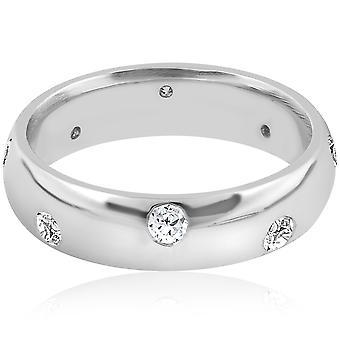 Hombres ct 3/4 Comfort Fit 14K oro blanco anillo de bodas anillo bisel pulido alto Set