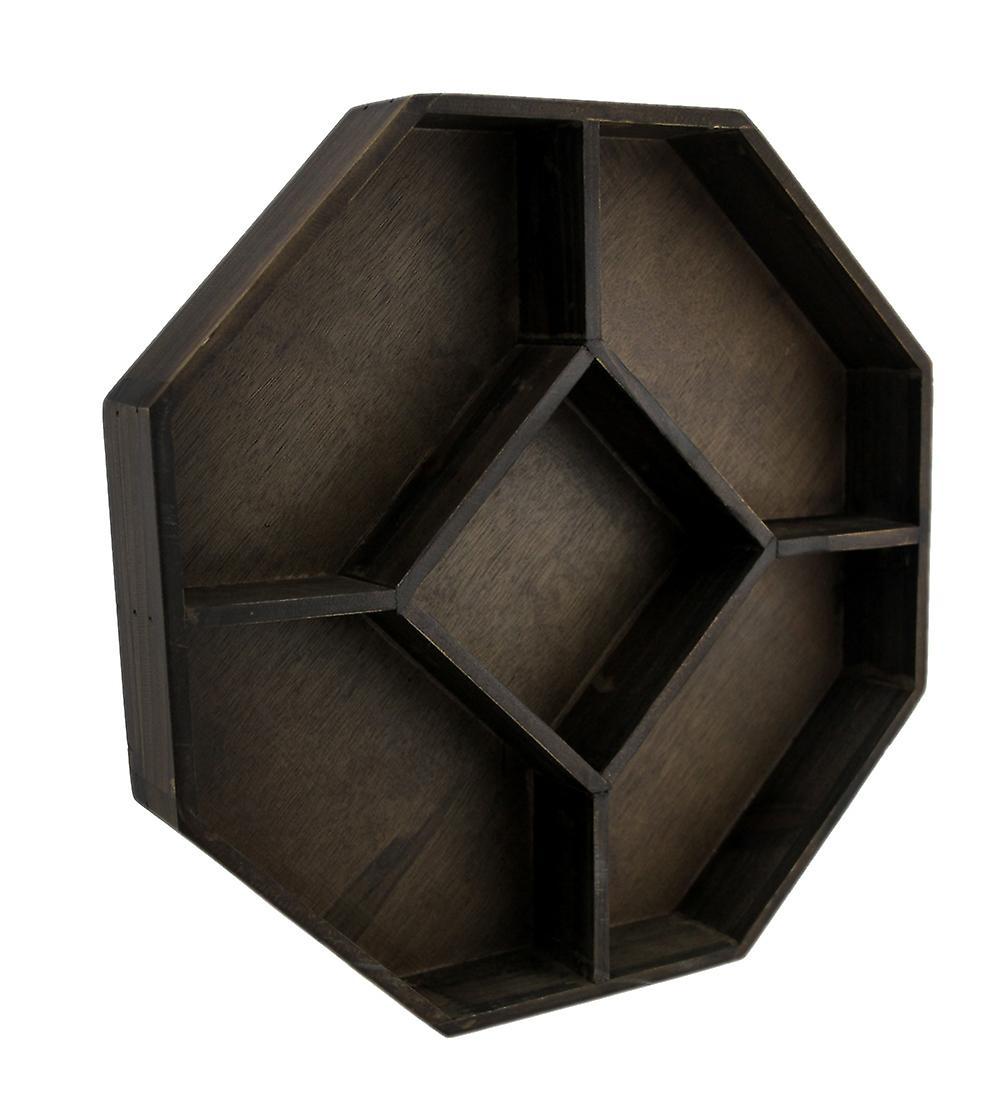 Cristal Hexagone Bois En Présentoir De Géométriques Brun Foncé kXPZiuO