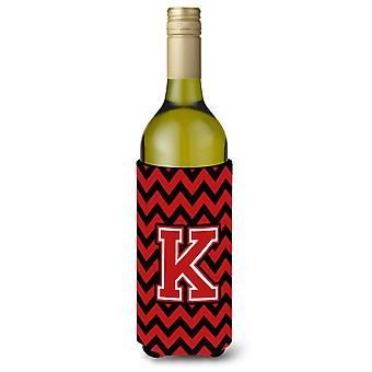 Letter K Chevron Black and Red   Wine Bottle Beverage Insulator Hugger