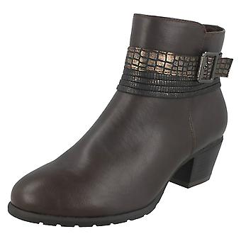 Ladies Spot On Snake Buckle Strap Ankle Boots F50730