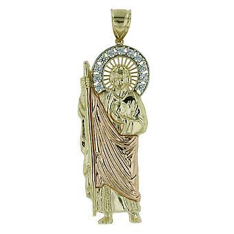 10K zwei Ton Gold Saint Jude Thaddeus Charm Anhänger Halskette mit CZ Gem Stones