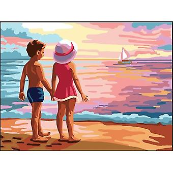 Collection D'Art Needlepoint Printed Tapestry Canvas 40X50cm-Kids By The Sea CD10504