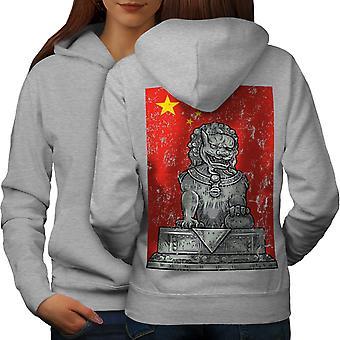 China vlag Lion Fantasy vrouwen GreyHoodie rug | Wellcoda