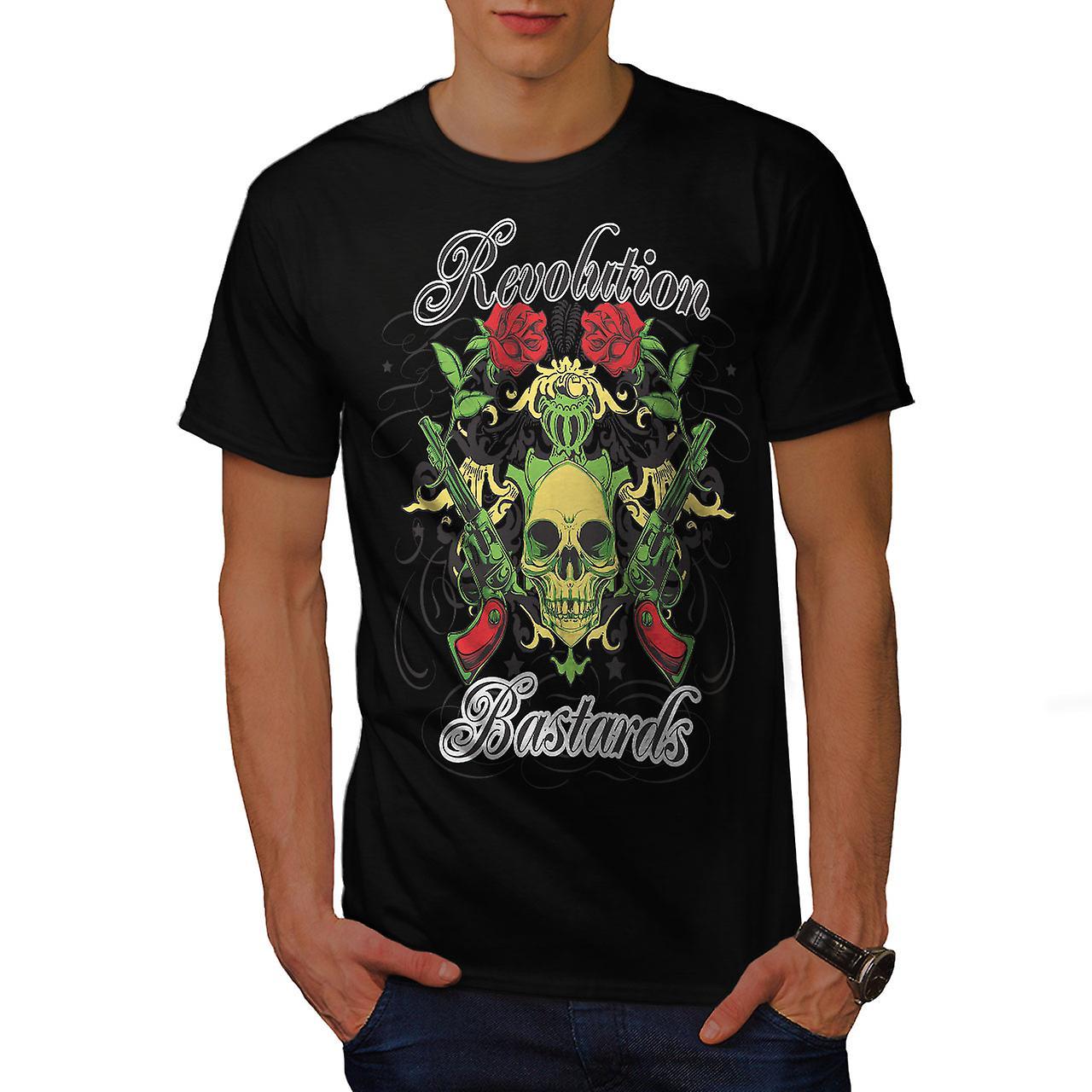 Revolution Bastards Skull Men Black T-shirt | Wellcoda
