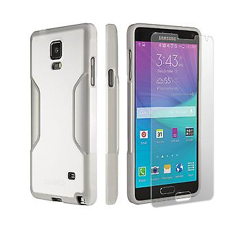 SaharaCase Galaxy Note 4 Fossil White Case, Classic Protection Kit with ZeroDamage Tempered Glass